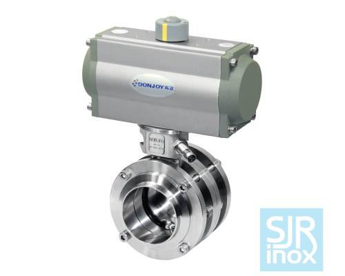 Дисковой поворотный клапан с пневматическим управлением, с горизонтальным расположением