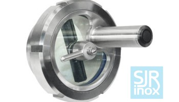 Смотровое стекло для трубопроводов со стеклоочистителем и зеркальной лампой из нержавеющей стали