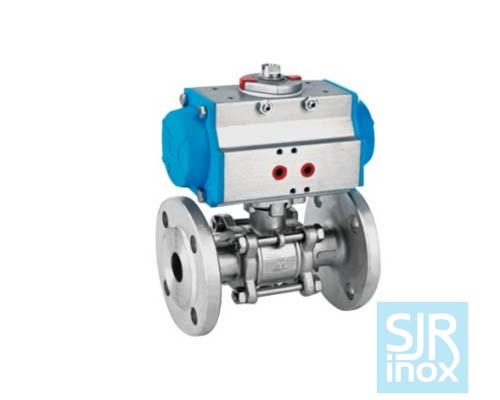 Шаровой кран с фланцевым соединением и пневматическим управлением для нефтехимической промышленности