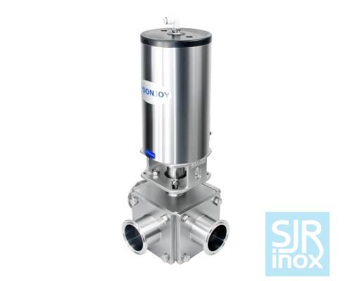 Трехходовой шаровой клапан прямого действия с пневматическим управлением